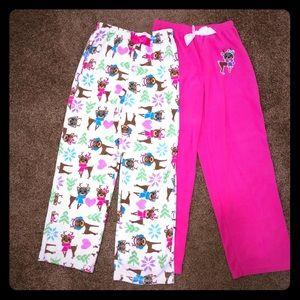 2 pairs of girls soft pj pants size 14